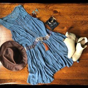 Free People Gypsy Swing Dress Blue Large